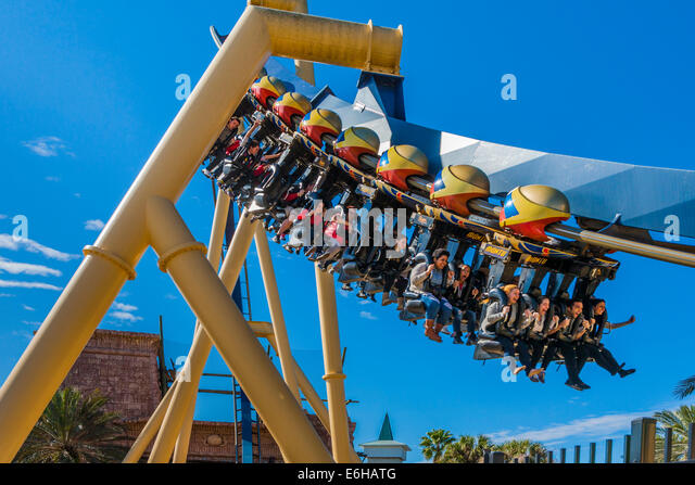 Park Guests Riding Montu Roller Coaster At Busch Gardens In Tampa, Florida,  USA