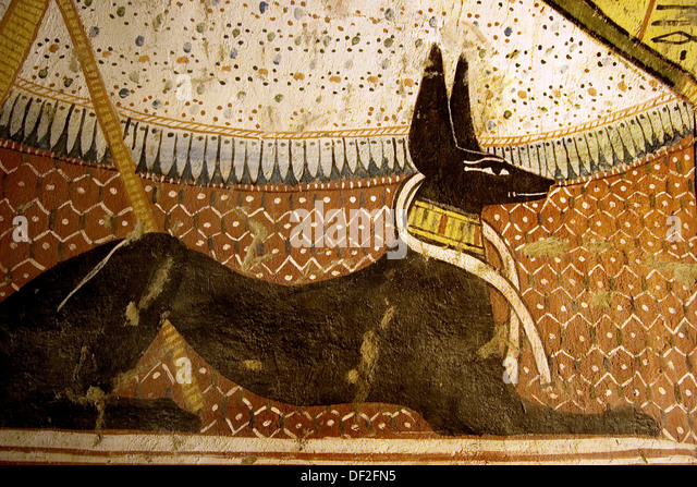 Tomb painting anubis stock photos tomb painting anubis for Egypt mural painting