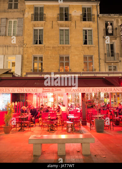 At night in Cours Mirabeau, Aix-en-Provence - Stock Image