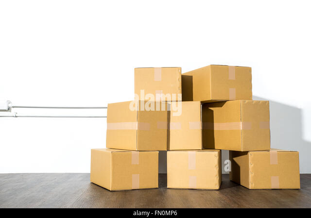 Carton box pile stock photos