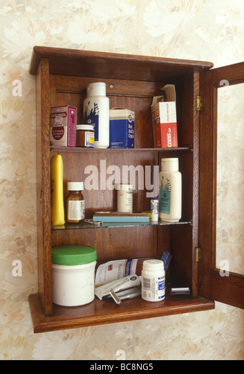 Awesome Still Life Of A Medicine Cabinet With A Selection Of Old Pots Of Cream And  Bottles