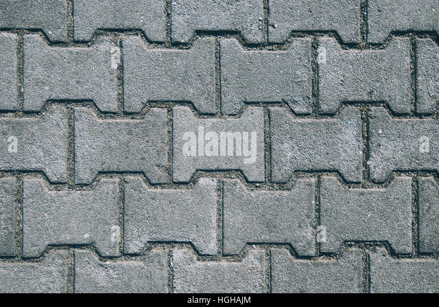 Concrete H Shaped Paving Slabs Surface, Top View Texture Of Urban Pattern    Stock Image