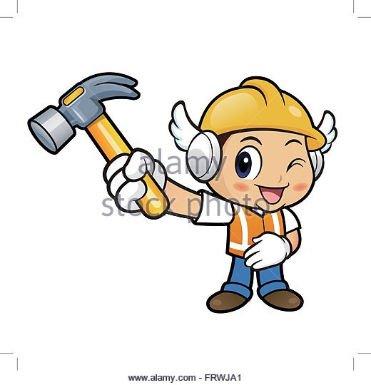 Cartoon Construction Worker Building Power Lines White Background