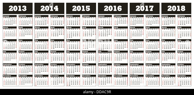 2013 through 2018 calendar   28 images   12 month printable