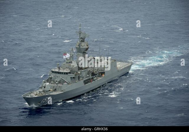 royal australian navy anzac class frigate hmas ballarat steams in close formation during rim of the