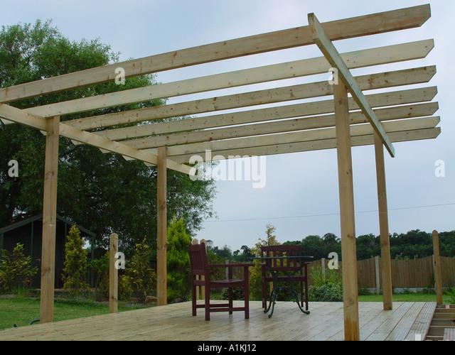 Patio pergola stock photos patio pergola stock images for Tanalised timber decking