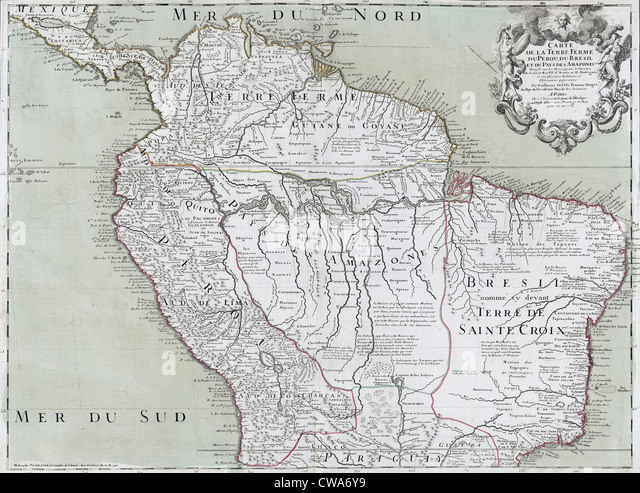 1745 map of northern south american continent showing colonial place