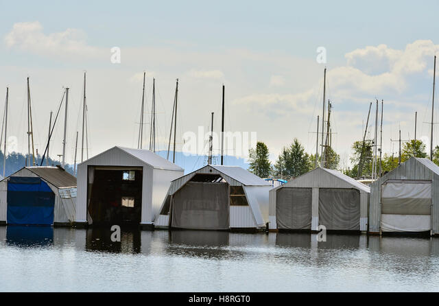 a line of boat storage sheds at a dock near ladysmith on vancouver island british columbia
