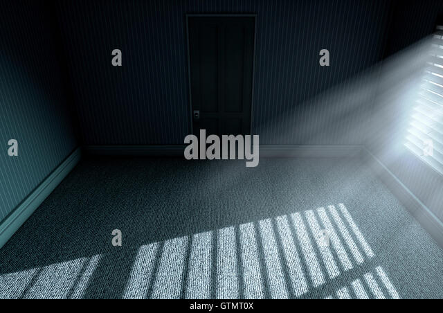 A 3D render of an empty bedroom with bright moonlight illuminating through  blinds   Stock Image. Bedroom Night Moonlight Stock Photos   Bedroom Night Moonlight