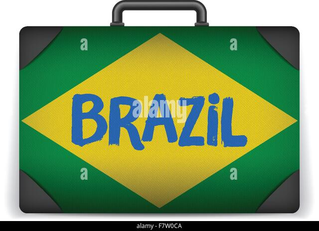 Brazil travel luggage with flag for vacation stock image