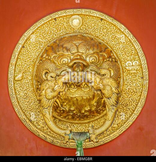 Beauriful golden door handle at Namdroling Monastery (Golden Temple) Bylakuppe Karnataka