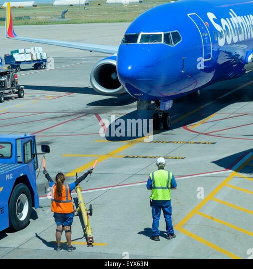 Airport Ground Crew Directing Plane Stock Photos & Airport