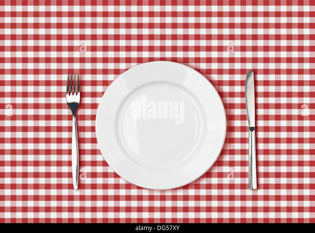 Knife, White Plate And Fork On Red Picnic Table Cloth   Stock Image