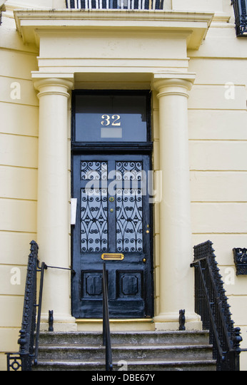 Number 32 black front door with steps and railings in Brunswick Square Brighton East Sussex England & Front Door Steps Railings Stock Photos \u0026 Front Door Steps Railings ...