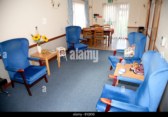 An Empty Lounge In Elderly Nursing Care Home England UK