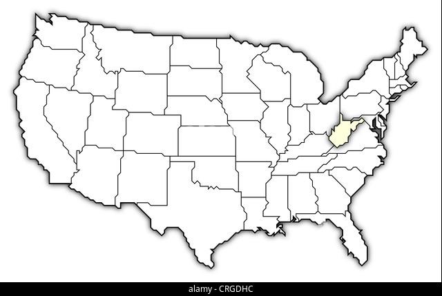 Map U S State Virginia Stock Photos Map U S State Virginia Stock - Map of us with west highlighted