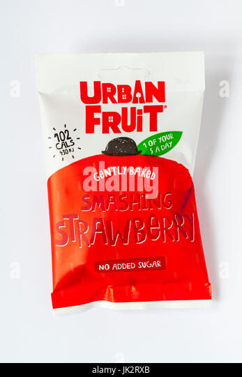 Packet of Urban Fruit gently baked smashing strawberry no added sugar 1 of your 5 a day isolated on white background - Stock Image