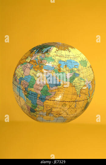 map of the world on a beach ball stock image