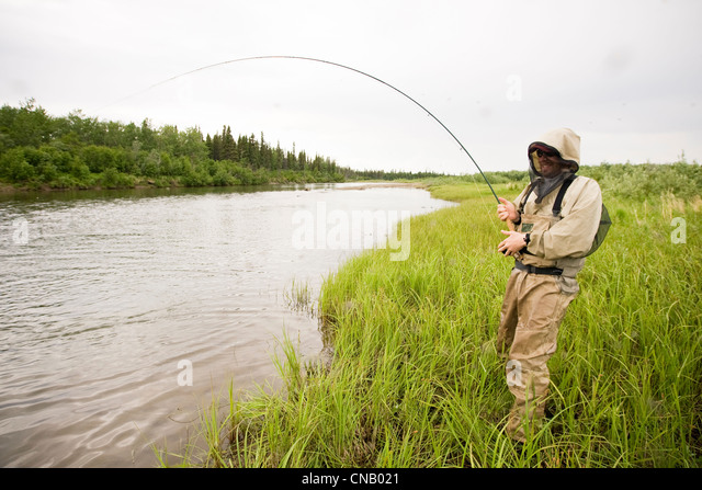 Fly fishing alaska stock photos fly fishing alaska stock for Fly fishing bay area
