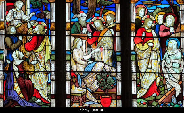 Miracles of Jesus, Say Unto Thee Arise, Jairus' daughter, Talitha Koum, Lazarus Come Forth, stained glass window, - Stock Image