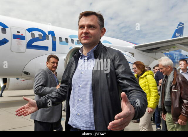 Irkutsk, Russia. 28th May, 2017. Russia's United Aircraft Corporation (UAC) President Yuri Slyusar reacts after - Stock Image