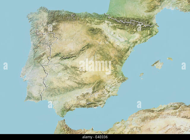 Map Satellite Geography Andalucia Stock Photos Map Satellite - Portugal map satellite