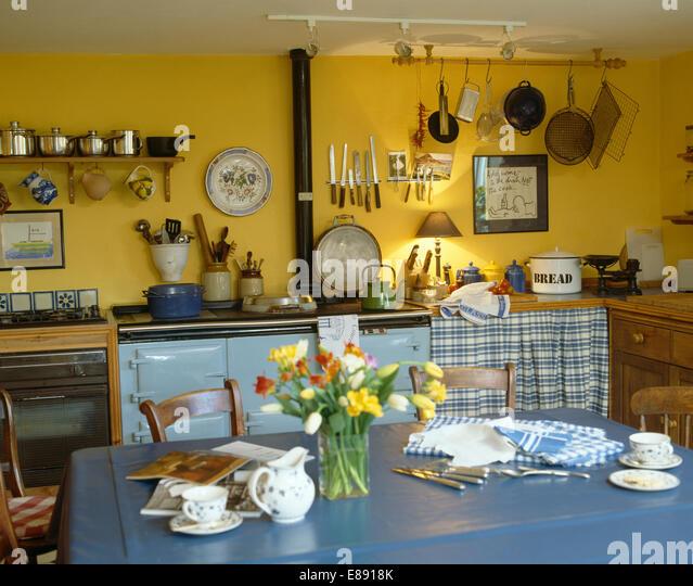 interiors yellow diningrooms traditional stock photos