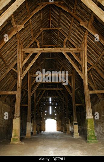 Tithe Barn Interior, 13th Century Monastic Medieval Building. Great  Coxwell, Oxfordshire, England