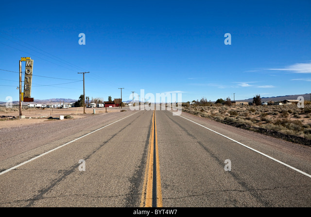 Decayed portion of historic route 66 in the middle of california s