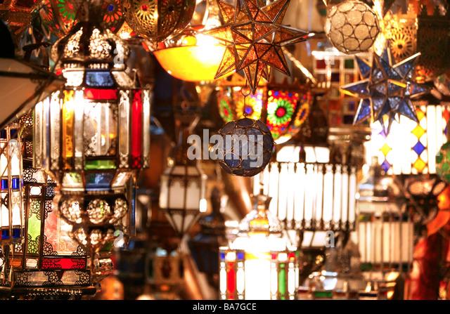 moroccan lamps marrakech morocco stock image
