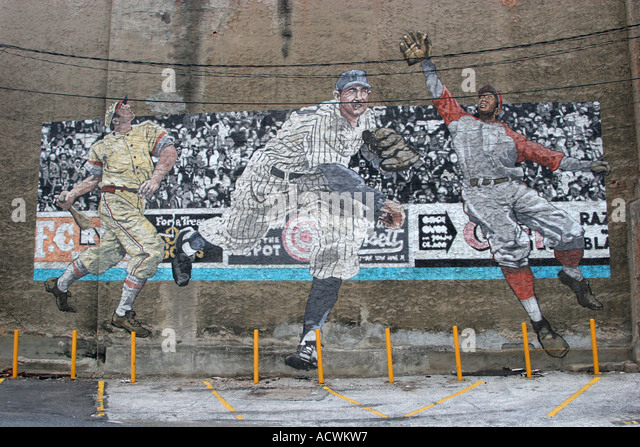 Baseball mural Philadelphia Pennsylvania USA - Stock Image