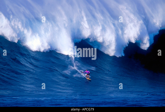 surf legend laird hamilton on jaws in maui hawaii stock image