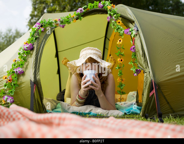Woman lying inside tent looking out - Stock Image & Flower Tent Stock Photos u0026 Flower Tent Stock Images - Alamy