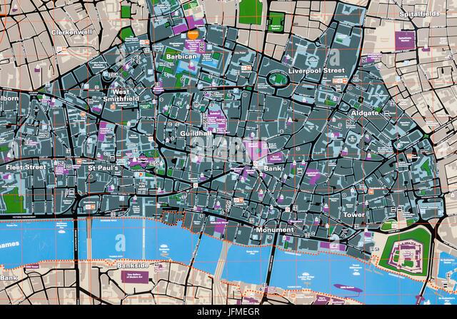 england london city of london street map stock image