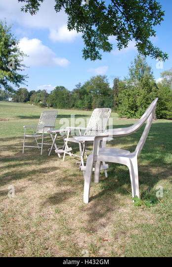 Park  Outdoor furniture  park  meadow  garden chairs  plastic chairs  white. White Plastic Garden Furniture Stock Photos   White Plastic Garden