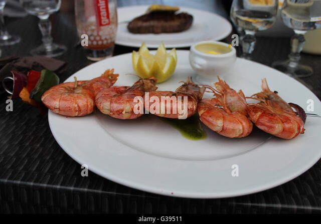 Gambas on a kebab, king prawns, dinner, French restaurant, Vias ...