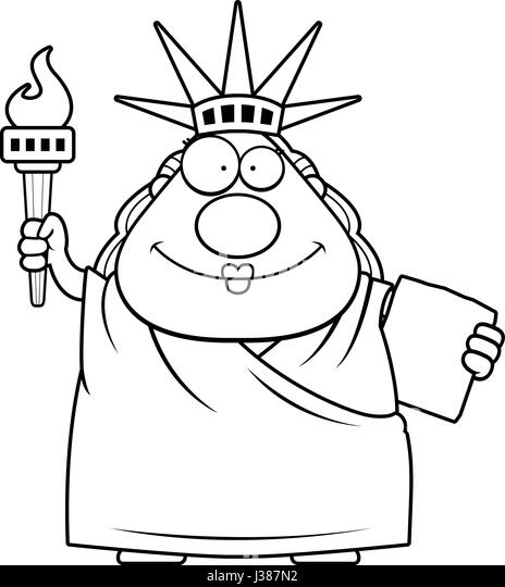 a cartoon illustration of the statue of liberty looking happy stock image