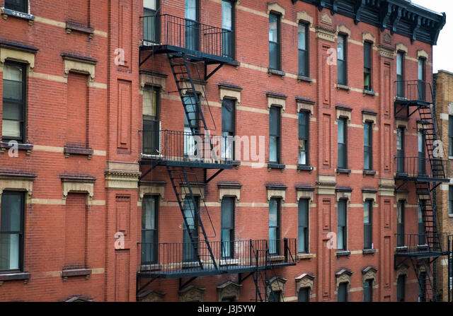 Red Brick Apartment Building With Fire Escape In New York City   Stock Image Part 61