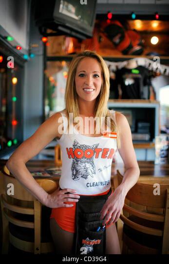Abby Hooters Calendar May : Hooters waitress stock photos