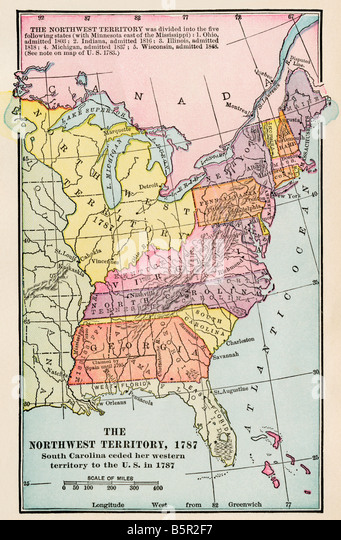 Map Of The Old Northwest Territory 1787 Stock Image