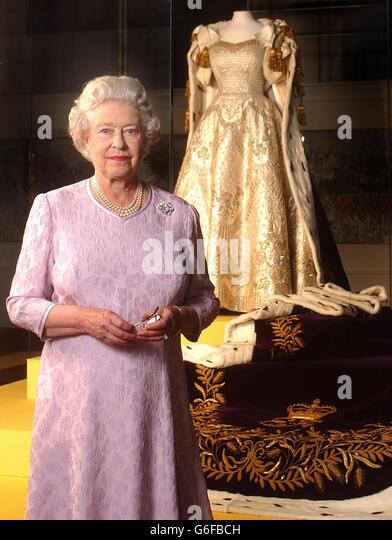 Queen Elizabeth , Coronation dress , Stock Image