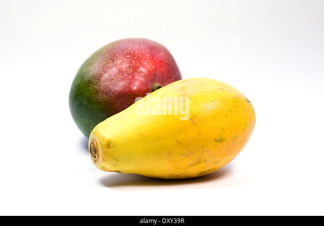 ... papaya and Mango portrait. Whole Mango and Pawpaw fruit. - Stock Image