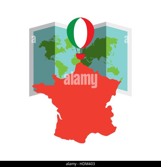 Italy map historic stock vector images alamy italy country map and air balloon with colors of flag over world map and white background gumiabroncs Choice Image