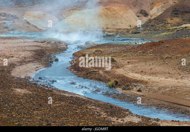 Seltun, geothermal field showing volcanic fumaroles, mud pots and hot springs, Reykjanes Peninsula, Iceland - Stock Image