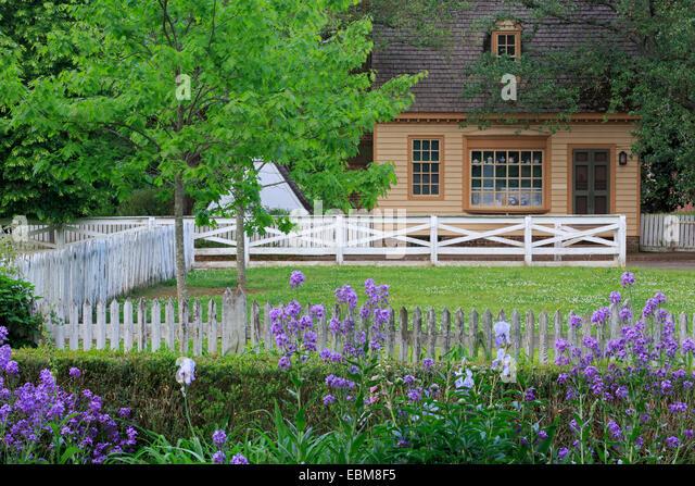 Garden In Colonial Williamsburg, Virginia, USA   Stock Image