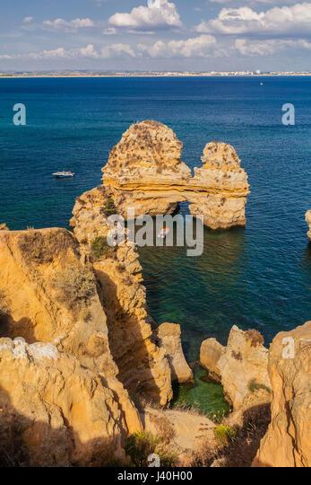 Portugal algarve near Lagos , Ponta da Piedade , Atlantik coast cliff, - Stock Image