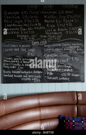 Handwritten Chalk Menu Interior Of The Cafe Bar At Harbourmaster Luxury Hotel Aberaeron Ceredigion Wales