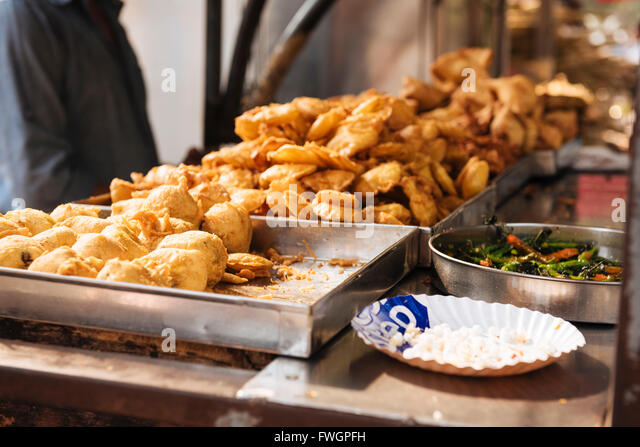 street food stall mumbai bombay india south asia stock image