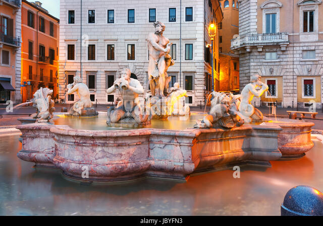 Piazza Navona Square in the morning, Rome, Italy. - Stock Image