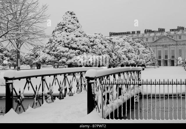 Hampton Court Palace And Garden In Snow Home Park Surrey UK